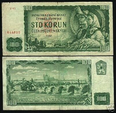Czechoslovakia 100 Korun P91 1961 Lion Charles Bridge Used Currency Money Note