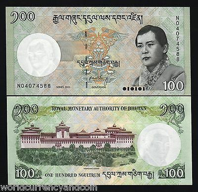 Bhutan 100 Ngultrum P32 2011 Lot King Dzong Unc World Money Bill Note X 20 Pcs