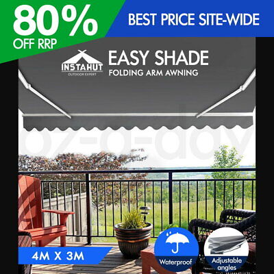 Instahut 4M x 3M Outdoor Folding Arm Awning Retractable Sunshade Canopy Pearl