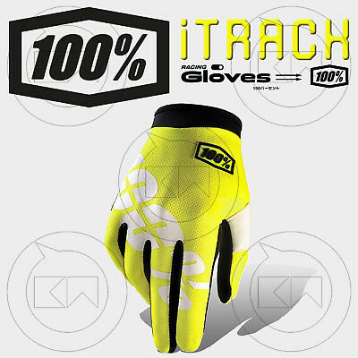 Guanti 100% Itrack Mx Neon Yellow Adulto Motocross Enduro Off-Road Atv Mtb