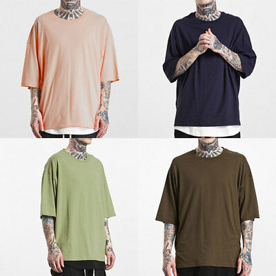 Men Summer Loose Hipster Hip Hop Tee Tops Crew Neck Short Sleeve T-shirt Blouse