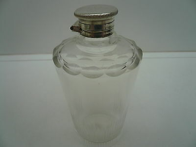 Scent Bottle, Silver Plated Lid, ART DECO, Cut Glass, c.1930's.