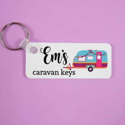 PERSONALISED Caravan Keyring NOVELTY Caravan Gift DOUBLE SIDED Key Chain
