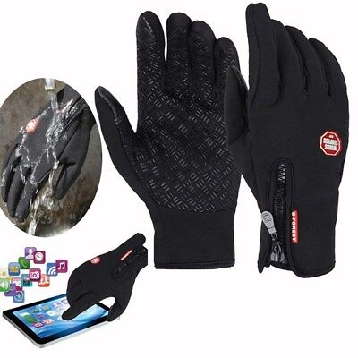 UK Winter Warm Windproof Anti-slip Thermal Touch screen Gloves Zipper