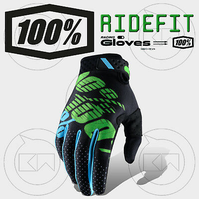 Guanti 100% Ridefit Mx Black/Lime Adulto Motocross Enduro Off-Road Atv Mtb