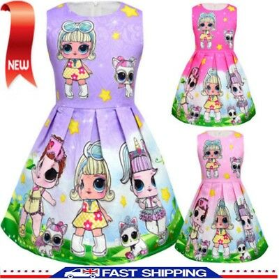New Girls Lol Surprise Doll Princess Dress Kids Party Holiday Birthday Dress UK
