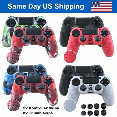 PS4 Controller Silicone Cover Anti-slip Protector Case Skin Set w/ 8 Thumb Grip