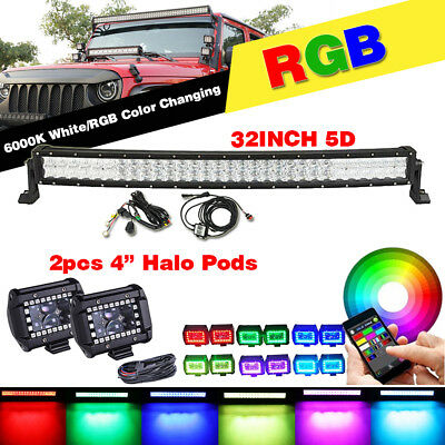32 inch Curved RGB LED Light Bar & 2x 4in LED Fog Halo Pods Jeep Truck SUV ATV