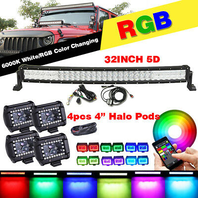 """32inch Curved RGB LED Light Bar & 4x 4"""" LED Fog Halo Pods For Jeep Ford SUV UTE"""