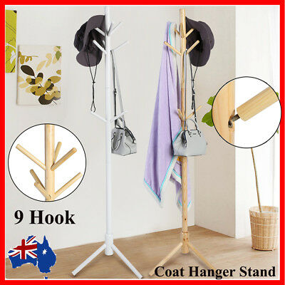9 Hook Wooden Coat Hanger Stand Bag Hat Clothes Rack Tree Style Storage Vintage