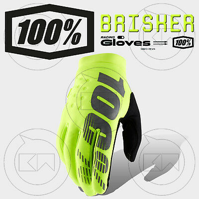 Guanti 100% Brisker Mx Fluo Yellow Adulto Motocross Enduro Ofroad Atv Mtb