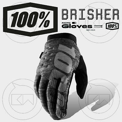 Guanti 100% Brisker Mx Heather Grey Adulto Motocross Enduro Off-Road Atv Mtb