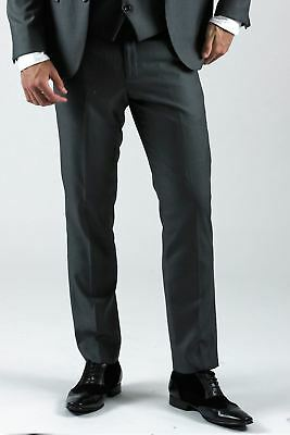 Mens Marc Darcy Trousers Grey Formal Smart Office Flat Front Dress Suit Pants