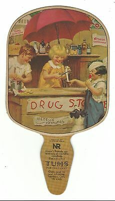 Old AD Premium Fan TUMS Nature's Remedy Medicine Smith Drug Store Hanover PA