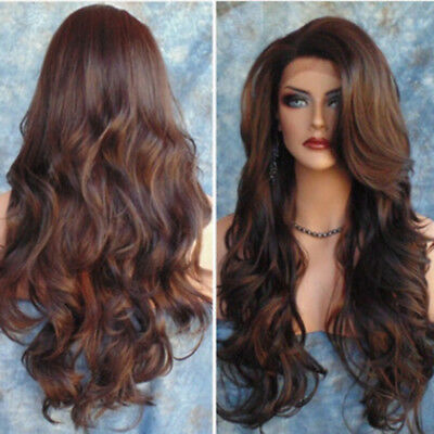 Elegant Women Brown Synthetic Lady Long Wig Wavy Full Wigs Curly Lolita Cosplay