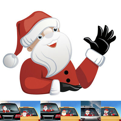 Christmas  Vehicle Car Window Moving Wiper Blade Tag Decal Sticker - Santa Claus