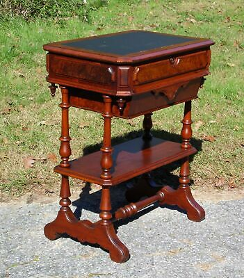 Antique Walnut Victorian Sewing Work Table Leather Top Library Entry Table 1800s