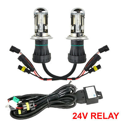 55w H4 6000k HID Replacment Bulbs AC Xenon Metal Base - 24v Relay Harness