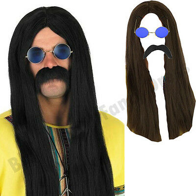 Mens Hippy Hippie Long Wig Sunglasses Tash 1970S Fancy Dress Costume Lot