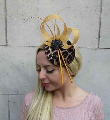 Mustard Gold Yellow Black Feather Leopard Animal Print Hat Fascinator Races 6392