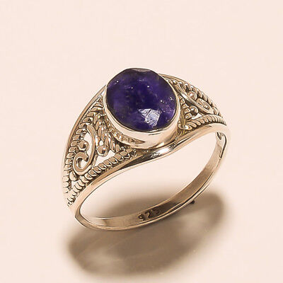 Silver Jewelry 925 Sterling Solid Silver Sapphire Handmade Design Ring SSS08