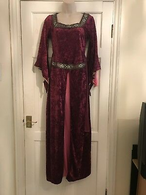 Adult Medieval Fancy Dress Costume, Size Small Medium, Red Velvet, Cosplay