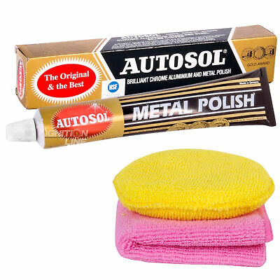 Autosol Solvol Original Metal Chrome Polish Aluminium 75ml includes Cloth & Pad