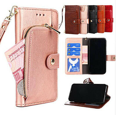Luxury Magnetic Flip Zipper Wallet Slot Stand PU Leather Case Cover For Huawei