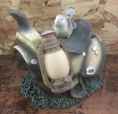 Vintage Garden Statue Bird Sitting on A Saddle Outdoor Yard Lawn Gnome Ornament