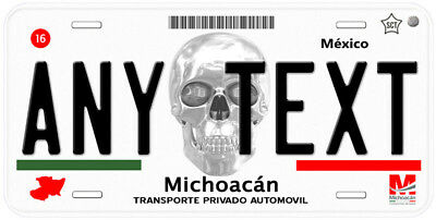 Michoacan Skull Mexico Any Text Novelty Auto Car License Plate