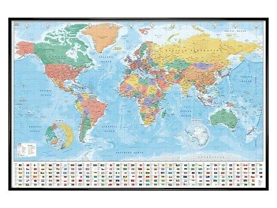 Gloss Black Framed World Map Flags And Facts Maxi Poster 61x91.5cm