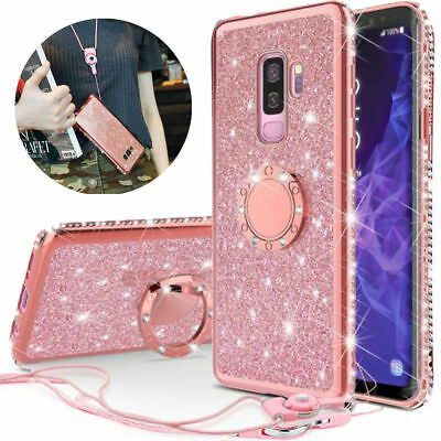 For Samsung Galaxy Note 8/9 S9 S8 Diamond Bling Back Ring Kickstand Case Cover