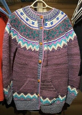 Vtg WOOLIES 100% WOOL HAND KNIT SWEATER CARDIGAN Button Up Heavy Chunky L-XL
