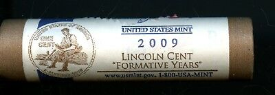 """Great 2009-D United States Lincoln Cent """"Formative Years"""" Roll (50Coins) AE206"""
