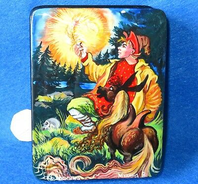 Lacquer Box Fire Bird The Humpbacked Horse Russian Fedoskino Trinket Fairy tale