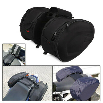 Motorcycle Oxford cloth Luggage Saddle Bag Rear Seat Bag with Waterproof Cover