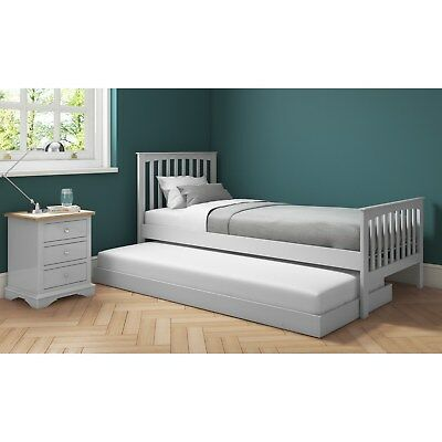 Grey Guest Bed Single 3ft Pull Out Trundle Bed  Underbed