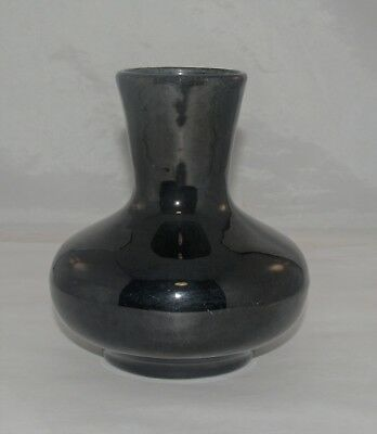 Antique Arts And Crafts Period Unmarked Art Pottery Vase Black High Glaze Studio