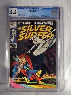 Marvel Comics Silver Surfer Volume 1 - Issue 4 Cgc 5.5 Comic - Silver Era - Thor