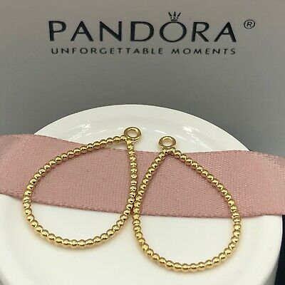5cb53ee39d042 NEW! AUTHENTIC PANDORA 14k Gold Teardrop Compose Earrings #250432 w/Hinged  Box