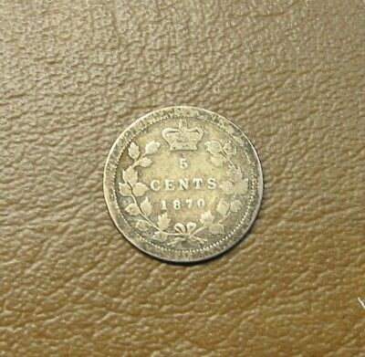"""1870 Canada Sterling Silver 5-Cent, """"flat Rim"""", Problem-Free Victorian Coin"""