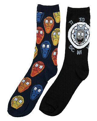 Rick And Morty Time To Get Schwifty 2 Pack Crew Socks