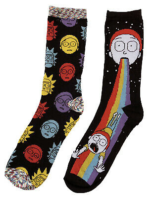 Rick And Morty Rainbow 2 Pack Crew Socks