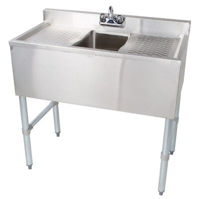 Stainless Steel Under Bar Sink One Compartment Left & Right Drainboard 19 x 36