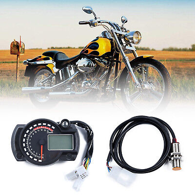 15000rpm~KM/h Motorcycle LCD Digital Speedometer Tachometer Odometer Gauge LED A