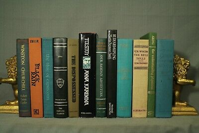 lot 12 vintage old books decorators shelf blue green Gone with the Wind Travel