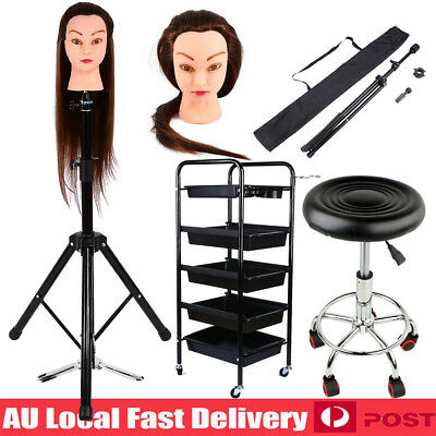 24/26'' Hair Training Head Tripod Hairdressing Salon Stool Trolley Storage Cart