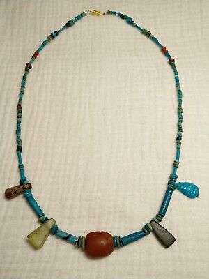 2500BC ancient Egyptian Faience, Glass amulet , agate scarab necklace#183289