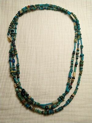 2500BC ancient Egyptian Faience and Glass necklace three strand#1810254