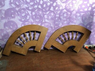 Vintage Pair Antique Shabby Wood Victorian Corbels Roof Brackets